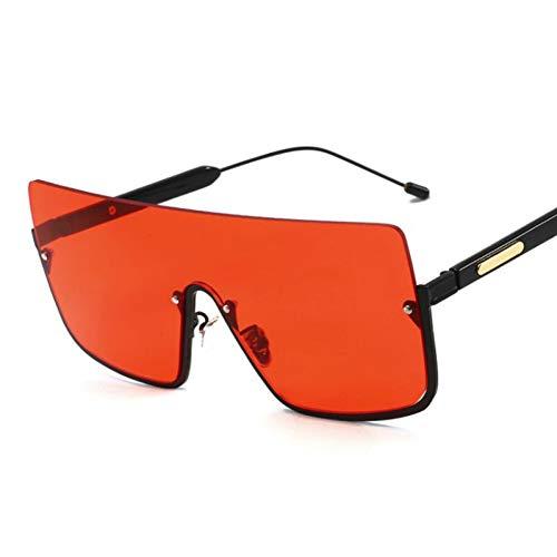 TIANKON Oversize Eyewear New Windproof Shades Halbrand Sonnenbrille Damen Fashion Square Sonnenbrille Herren,rotd