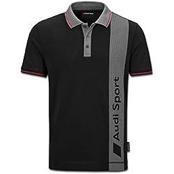 Audi Original Sport Poloshirt, Herren, Schwarz/Grau (L)