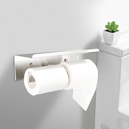 Faulkatze Toilettenpapierhalter mit Ablage Doppel Klopapierhalter Edelstahl WC Papierhalter Klopapierrollenhalter Rollenhalter Papierhalter für Küche und Badzimmer(2 Rolle)