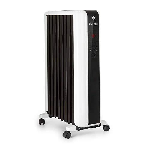 Klarstein Thermaxx 2000 Ölradiator - elektrische Heizung, 2000 Watt Leistung, 5-35 °C, spezielle Rippenform, LED-Display, 24h-Timer, geringes Gewicht, mobil, inkl. Bodenrollen, weiß
