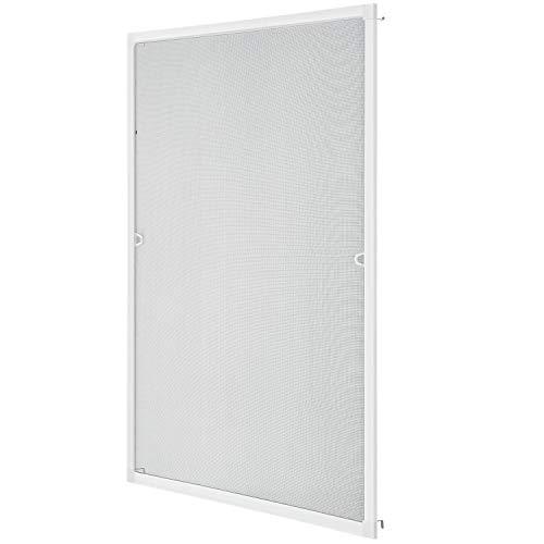 Juskys Fliegenschutzgitter für Fenster mit Aluminium Rahmen | 100 x 120 cm | weiß | Fliegengitter Fliegenschutz Insektenschutz