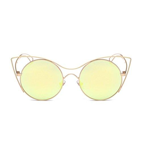 OverDose Unisex Sommer Frauen Männer Moderne Modische Spiegel Polarisierte Katzenauge Metallrahmen Sonnenbrille Brille Damensonnenbrille Herrensonnenbrille (Rave Outfits Männer)