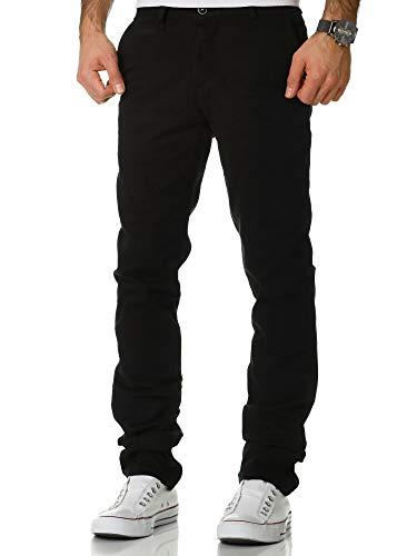 Amaci&Sons Herren Regular Slim Stretch Chino Hose Fit 1-7010 Schwarz W33/L34