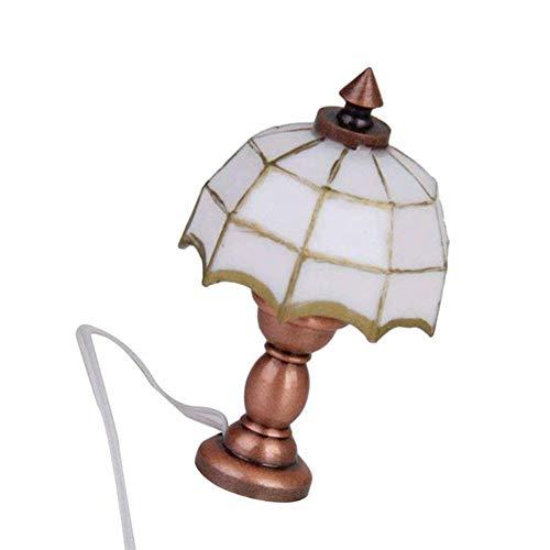 Gracorgzjs Modell Leuchte Lampe Toy White Plaid Shade, 1/12 Dollhouse Miniature Umbrella Shade Lampe LED Schreibtischlampe Light Doll Room Decor (Kronleuchter Light Kit)