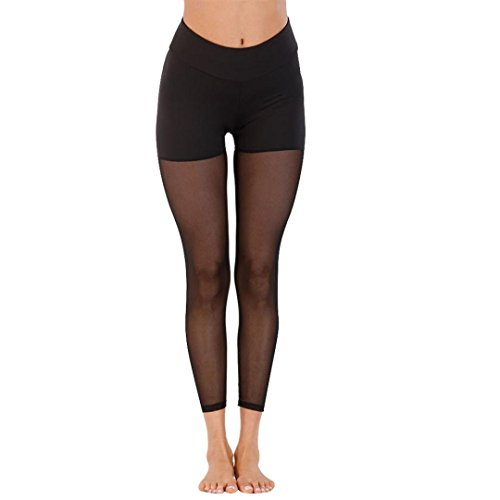 Damen Shorts Sommer LHWY Frauen Leggings Elegant Patchwork Mesh Freizeithosen Fitness Yoga Lang Skinny High Waist Kleidung Schwarz (XL, Black) (Lange Mesh Pocket Shorts)