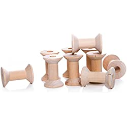 10Pequeño Madera Bobinas Bobinas para manualidades; Bobinas de hilo, bandas Bobinas de madera, 4cm de largo y en diámetro: 2,8cm