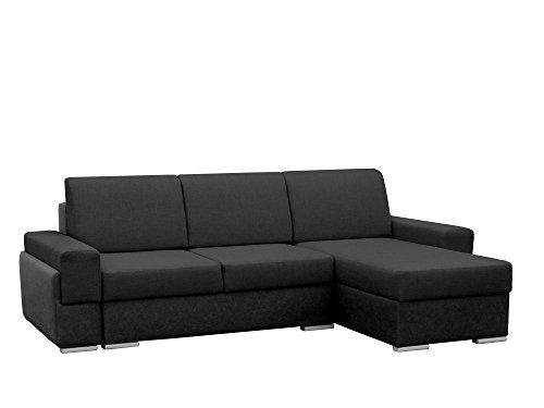 mb-moebel Kleine Ecksofa Sofa Eckcouch Couch mit Schlaffunktion und Zwei Bettkasten Ottomane L-Form Wohnlandschaft Bruno (Schwarz, Ecksofa Rechts)