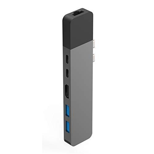 "Hyperdrive USB C Hub, Dual Typ C Adapter für MacBook Pro 2018/2017/2016 13\"" 15\"" & Air 2018, 6in2 Multiport USBC Dongle mit Gigabit Ethernet, 40Gb/s C-USB 100W, 5 Gb/S Type C 60W PD, 4K HDMI, 2Xusb 3.1"