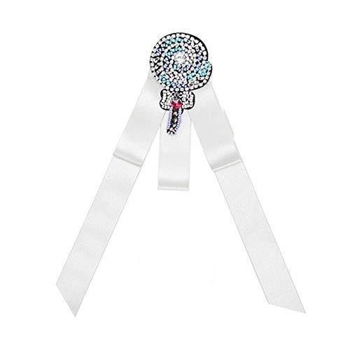 Belle Kostüm Silber - Olydmsky Bow Brosche Brosche Kostüm Zubehör Bogen Stoff Schleife binden Kragen Belle Plaine