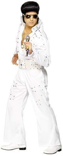 Smiffys, Herren Elvis Kostüm mit Strasssteinchen, Overall mit Gürtel, Größe: L, 29142