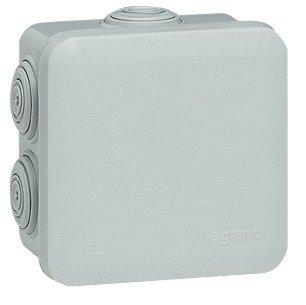 Legrand LEG94517 Boîte de dérivation carrée 80 x 80 x 45 mm fermeture par enclipsage Gris