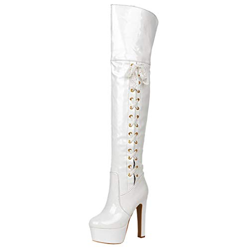 Artfaerie Damen Blockabsatz High Heels Lack Overknee Stiefel Plateau Langschaft Stiefel mit Schnürung Elegante Party Schuhe(EU 41,Weiß)