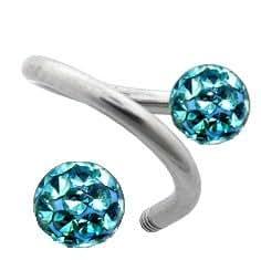 Piercing Tragus Anneau Spiral Boule Cristal Bleu Turquoise Recouverte de Résine Acier - Diamètre 8mm (Grand)