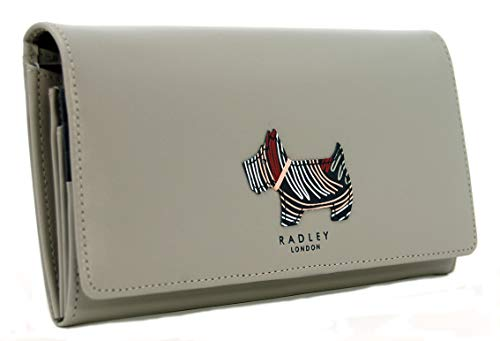 Radley Large Flapover Matinee Geldbörse 'Fenchurch Dog' aus grauem Leder - Matinee-geldbörse