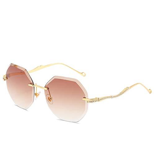 DAIYSNAFDN Sonnenbrille Frauen Top Cut Umrandeten Großen Rahmen Ozean Gradient Lens Brille Weibliche Uv400 Gold Tea