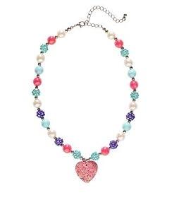 WIDMANN Partypackage Ltd Collar con cuentas de corazón con purpurina rosa para mujer