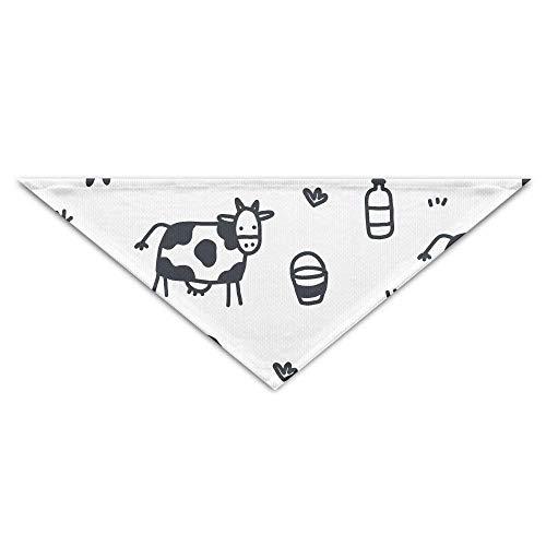 Hectwya Pet Scarf, Black White Cartoon Cow Pattern Dog Bandanas Scarves Triangle Bibs Scarfs Funny Basic Neckerchief Cat Collars Pet Costume Accessory Kerchief Holiday Birthday Gift