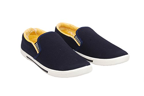 Kikasha Men's Fashionable Casual blue & Yellow Loafers (Major-plain-blue-ylw_10)  available at amazon for Rs.195