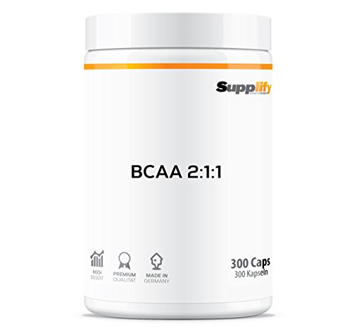 BCAA Kapseln Vegan 1000mg – 300 Hochdosierte Mega Caps Supplify + Vitamin B6 – Essentielle Aminosäuren (2:1:1) als Pulver-Alternative | Laktosefrei, Pflanzlich, Rein & Hochwertig,...