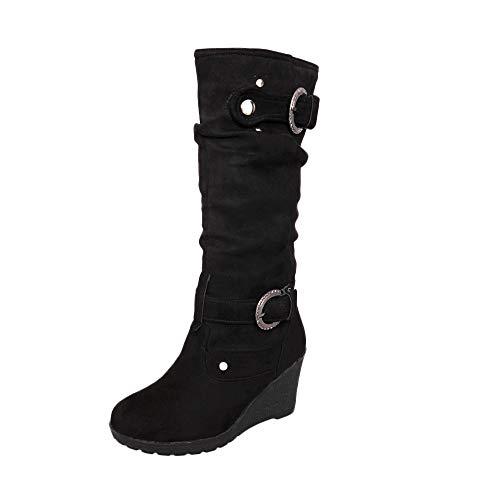 Marlene(R) Damen Stiefel-Winter-Flache Schuh-Runde Zehe verdicken Wedges Ladies Long Tube Stiefel (Absatzhöhe 5-8 cm)