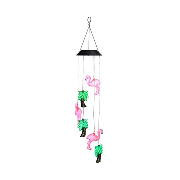 Wind Chimes Outdoor, Color Changing Solar Hummingbird Light Wind Chime Dangler LED Multi-color Solar Wind Spinner Night…