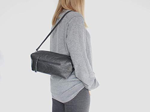 Piñatex® Handtasche, schwarze Umhängetasche aus Ananasfaser, vegan, schwarze Schultertasche, Geschenk, - 2
