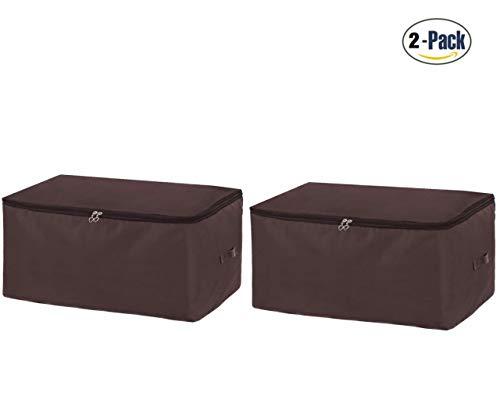 C-ku Aufbewahrungstasche Bettdecke Leinwand Stoff Unterbettkommode für Bettwäsche Kleidung Matratze Decken Kissen Faltbar (2 Stücke/Braun)