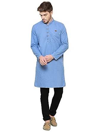 Kuons Avenue Light Blue Men's Denim Cotton Long Kurta (Light Blue; Medium)