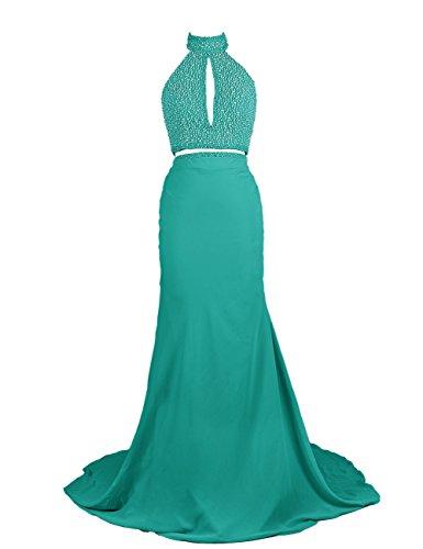 Dressystar Robe de soirée/Cérémonie Longue, Dos Nu,en Mousseline Turquoise