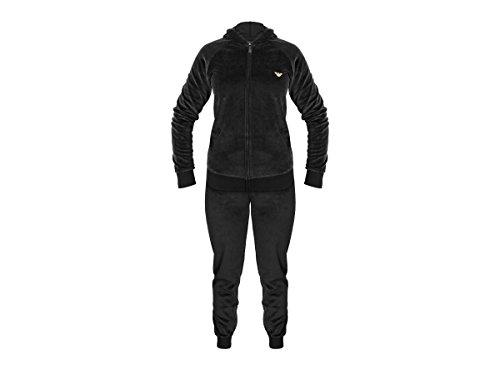 Emporio Armani Velour Hooded Logo Tracksuit - Jacket+Pants white Guffs 7A252 (00010 Black, L) (Mädchen Jacke Velvet Black)