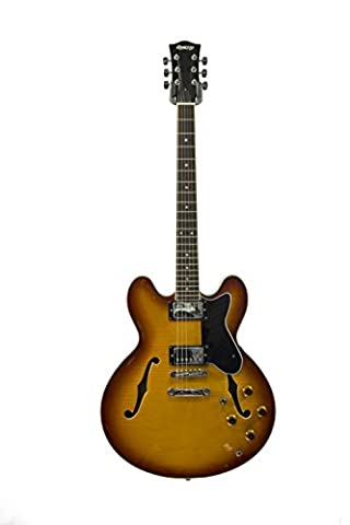 Winnipeg by QUINCY 6 string semi hollow SOLID MAPLE Electric Guitar Sunburst (335 shape/ quilted