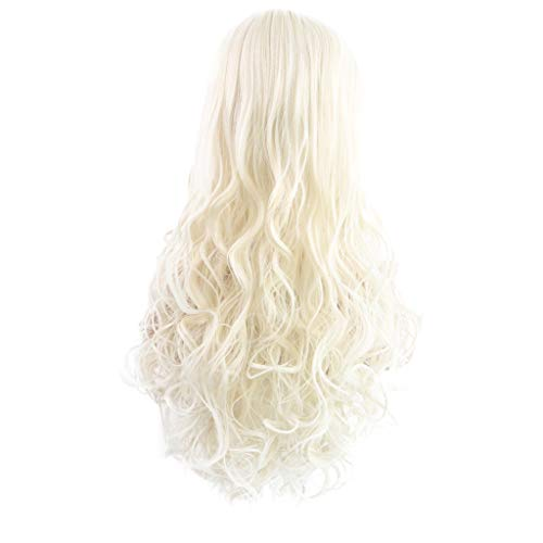 SOMESUN Frauen Temperament Hellgold Lange Lockige Haare Mode Modernen Bankett Wilden Urlaub Im Freien Feminine Hitzebeständige Welle Wilde Perücke