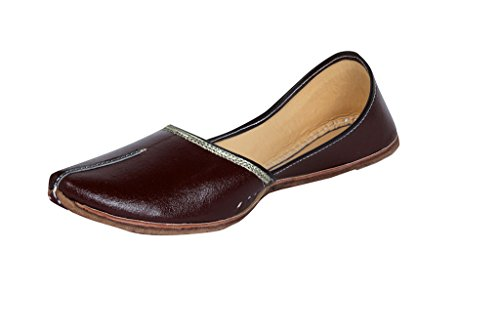 Panahi Men's Ethnic Shoes Brown Punjabi Leather Mojari