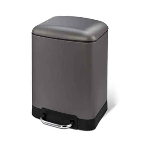Ashcan FORWIN UK- Cubos de Basura del Pedal del Acero Inoxidable para el Dormitorio Rectangular, 6L (Color : Gris Oscuro)