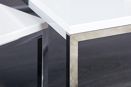 Design Couchtisch 2er Set Big Fusion Hochglanz Weiss Chrom Tische