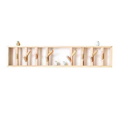 ACZZ Kleiderhaken für die Wandmontage, Holzrahmenhalter für Kleiderhüte und Handtücher Verwendung in Schlafzimmern, Badezimmern und Fluren - Kleiderhaken für die Wand- oder Türmontage (Log-bett Kit)