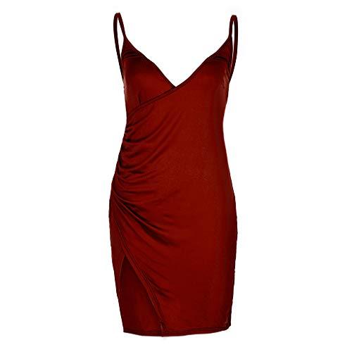 VECOLE Damenoberteile Damen Sommermode sexy rückenfreies Kleid minikleid V-Ausschnitt schlankes Kleid hohe Stretch Rock Urlaub Partykleid(Wein,M)