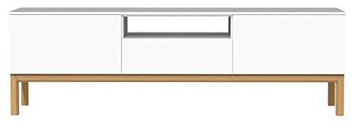 TENZO 2273-001 Patch Banc TV avec Tiroir/2 Portes Panneaux de Particules/MDF Blanc/Chêne 179 x 47 x 56 cm