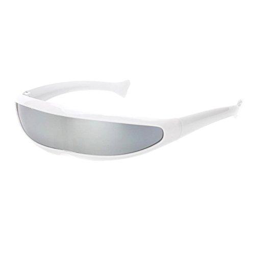 P PRETTYIA Erwachsene Funky Sonnenbrille Verspiegelte Dekobrille Partybrille Futuristische Spaß Brille Alien Kostüm Zubehör - Weiß Silber