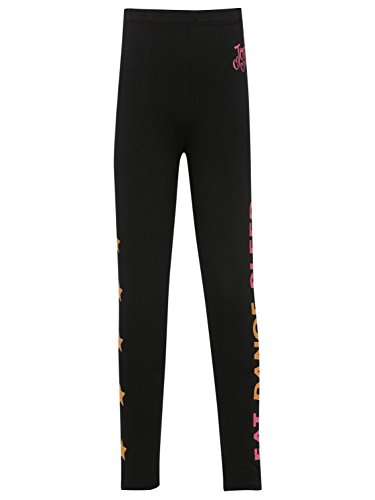 M&Co Jojo Siwa Girls Black Cotton Stretch Dance Slogan Star Print Full Length Leggings