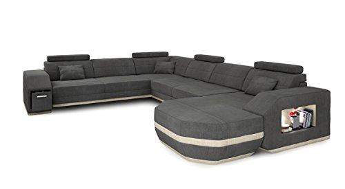 Sofa Couch Wohnlandschaft XXL Stoffsofa grau modern Designsofa Ecksofa U-Form Eckcouch mit LED-Licht Beleuchtung FRANKFURT