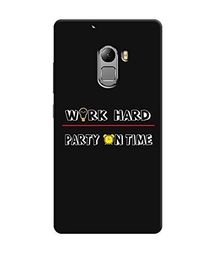 "NH10 DESIGNS 3D PRINTING DESIGNER HARD SHELL POLYCARBONATE ""WORK HARD PARTY ON TIME BLACK AND WHITE"" PRINTED SHOCK PROOF WATER RESISTANT SLIM BACK COVER MATT FINISH FOR LENEVO K4 NOTE/LENOVO K4NOTE"