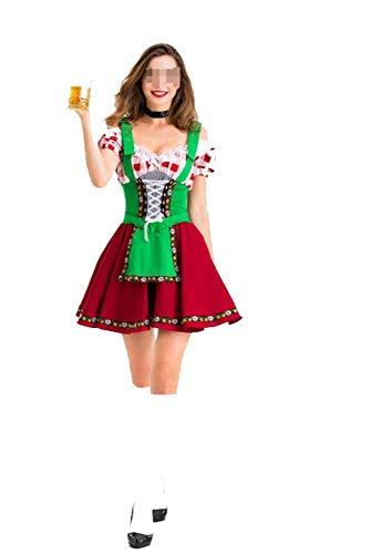 Karoun oktoberfest tedesco wench dirndl costume adulto birra cameriera heidi fancy dress cosplay carnevale uniformi s m l xl,green,l