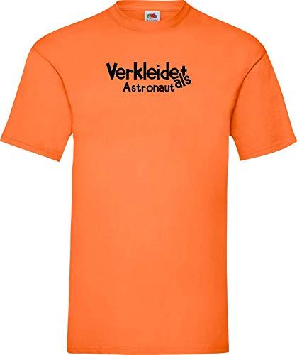 Shirtinstyle T-Shirt Verkleidet als Astronaut Karneval Fasching Kostüm Verkleidung, orange, - Herren Orange Astronaut Kostüm