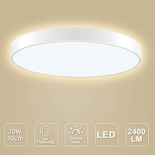LED Deckenleuchte, LED Deckenlampe, Kaltweiß Warmweiß Rund Modern Led Deckenleuchten Schlafzimmer Küche Wohnzimmer Lampe für Balkon Flur Küche Wohnzimmer IP20[Energieklasse A+] (Warmweiß, 20W(30cm))