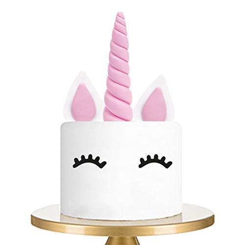 Cake Topper Rosa Einhorn Kuchendeko für Geburtstag Hochzeit Party Niedlich kuchendekoration, Ohren und Wimpern Kuchen Torte Deko(6 Stück)
