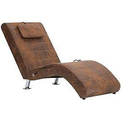 Festnight Fauteuil Chaise Longue Confortable | Chaise Longue Interieur | Chaise Longue en Similicuir Daim | Fauteuil Relaxant Salon | Marron