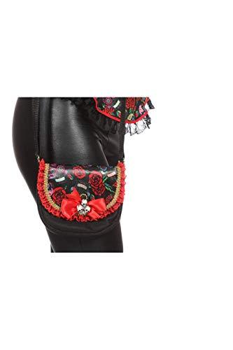 Mexiko Toten Tag Der Kostüm - Tasche Tag der Toten Rot Schwarz mit Schleife Handtasche für Damen Karneval Fasching