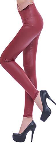 Leslady Donna Ecopelle a vita alta Leggings in similpelle PU Pantaloni collant a vita alta con vita alta Soft Stretch Skinny