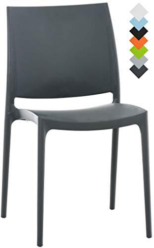 CLP XXL-Küchenstuhl Maya I Wetterbeständiger Stapelstuhl bis zu 160 kg belastbar I erhältlich Dunkelgrau - Stapelbarer Outdoor-stuhl